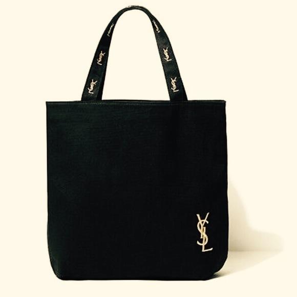 0b8aa0a1c621b YSL Black Canvas Tote Bag Purse